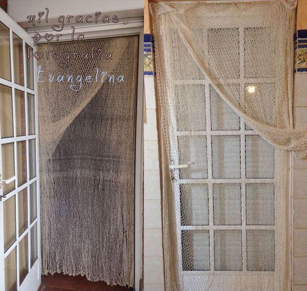 cortinas de pescador con red de pesca decorativa